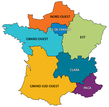 Map of the 7 Cancéropôles
